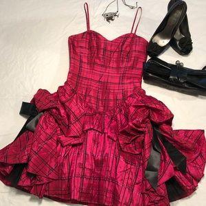 Betsey Johnson Dress- Hot Pink Plaid Runway 2010